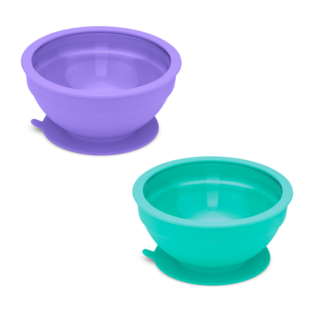 Glass and Silicone Suction Bowls Set of 2 (Teal and Purple)