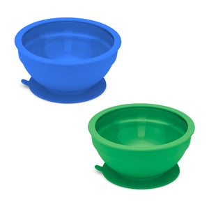 Glass and Silicone Suction Bowls Set of 2 (Hunter and Royal Blue)
