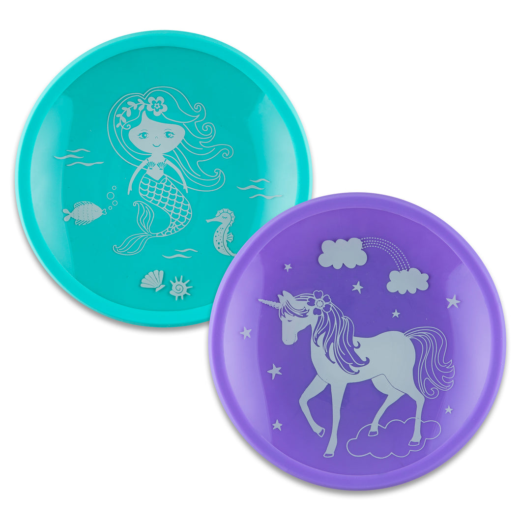 Mermaid and Unicorn Tempered Glass and Silicone Plate Set