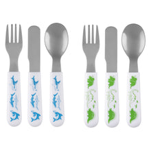 Load image into Gallery viewer, Dino and Shark Utensil Set of 2