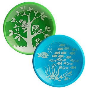 Owl and Fish Tempered Glass and Silicone Plate Set