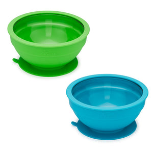 Glass and Silicone Suction Bowls Set of 2 (Blue and Green)