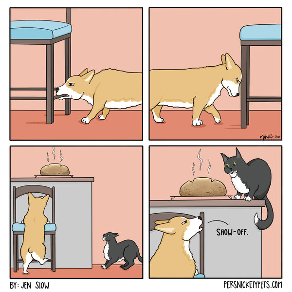 """The Persnickety Pets comic by Jen Siow: """"Show-Off"""""""