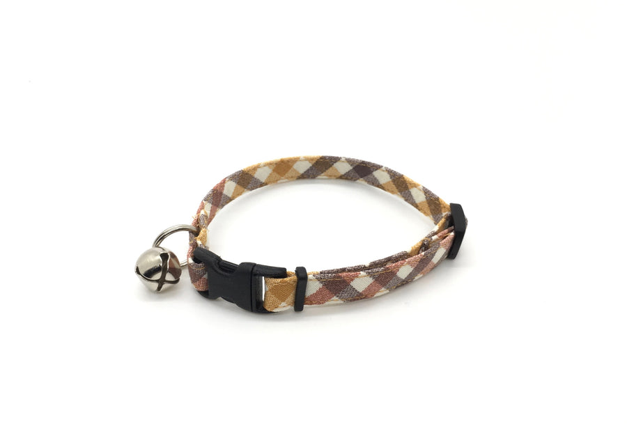 Persimmon Peak: harvest plaid breakaway cat collar
