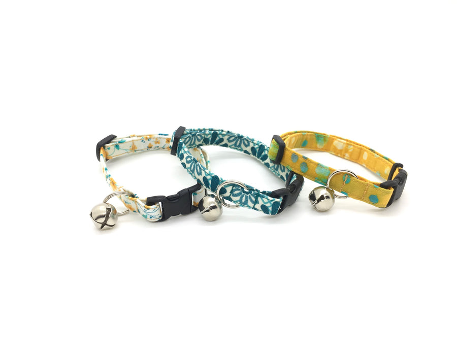 Persimmon Peak: golds and teals breakaway cat collars