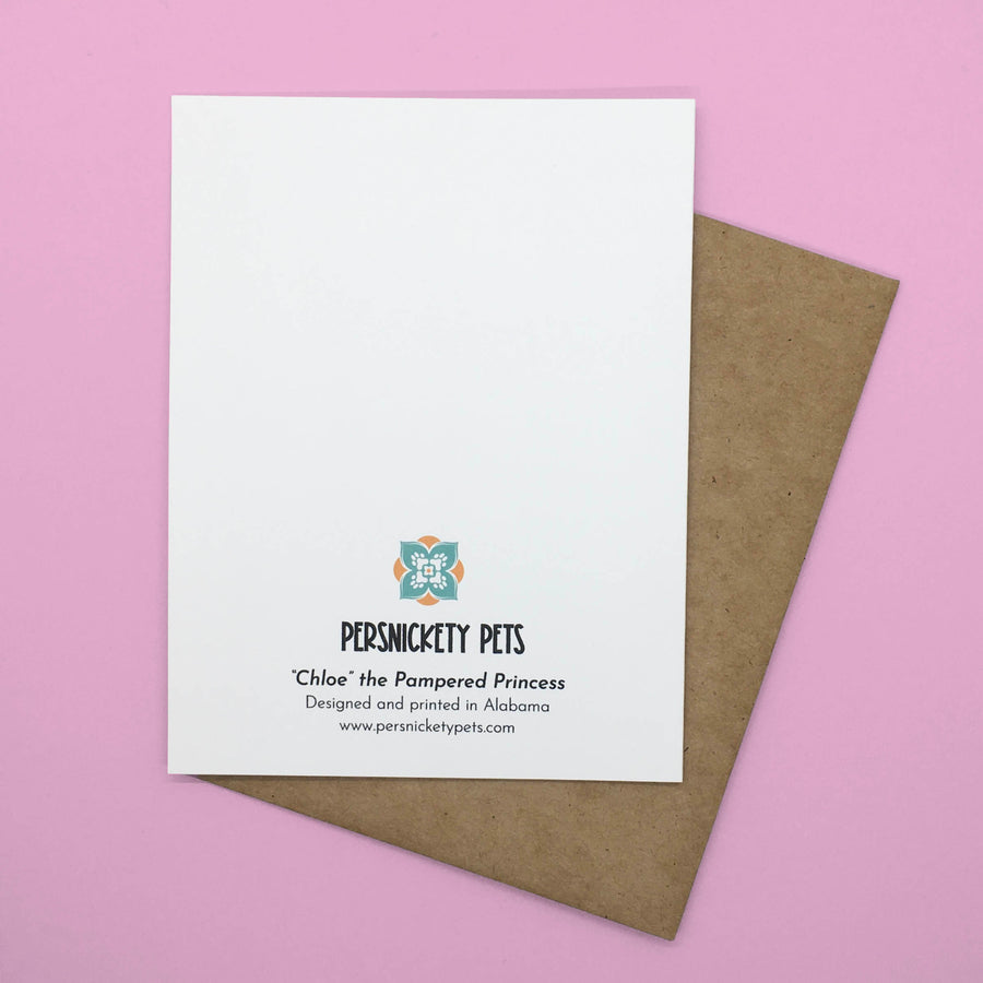 Persnickety Pets: Chloe folded notecard, back