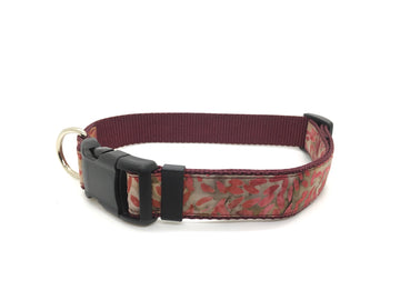 Persimmon Peak: batik leaves classic dog collar, single