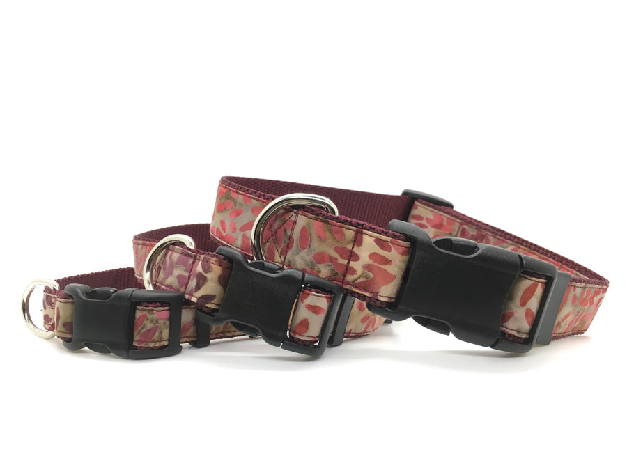 Persimmon Peak: batik leaves classic dog collar, stacked