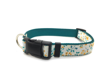 Persimmon Peak: golden roses classic dog collar, single