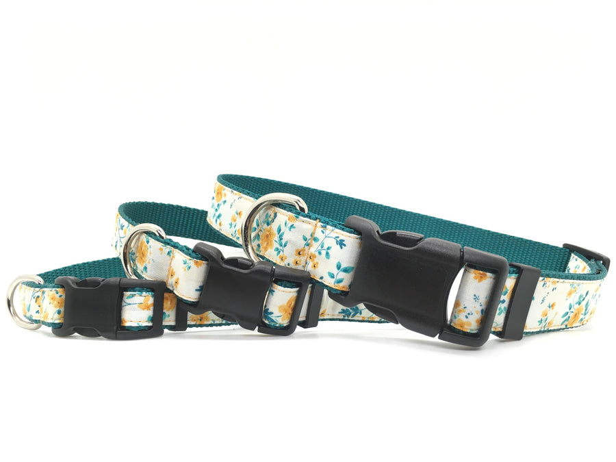 Persimmon Peak: golden roses classic dog collar, stacked