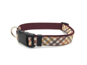 Persimmon Peak: merlot harvest plaid classic dog collar, single
