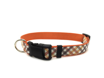 Persimmon Peak: pumpkin harvest plaid classic dog collar, single