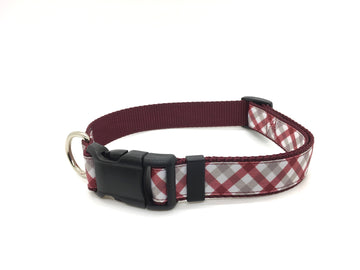 Persimmon Peak: team spirit crimson & white classic dog collar, single