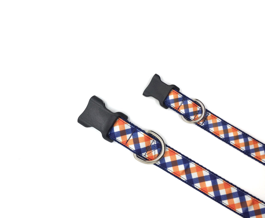 Persimmon Peak: team spirit navy & orange classic dog collar, 2 sizes