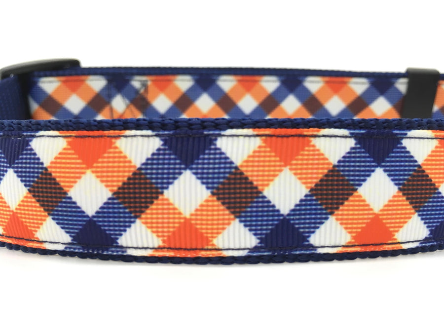 Persimmon Peak: team spirit navy & orange classic dog collar, detail