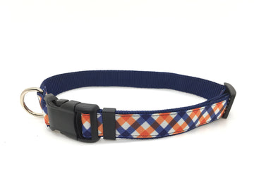 Persimmon Peak: team spirit navy & orange classic dog collar, single