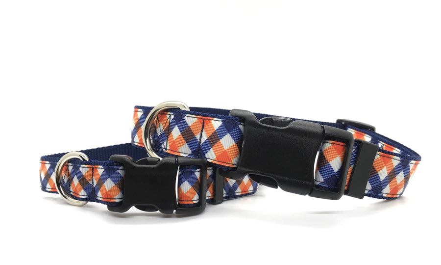 Persimmon Peak: team spirit navy & orange classic dog collar, stacked