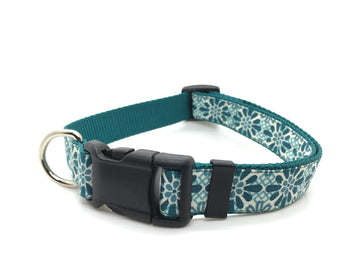 Persimmon Peak: Tiles on teal classic dog collar, single
