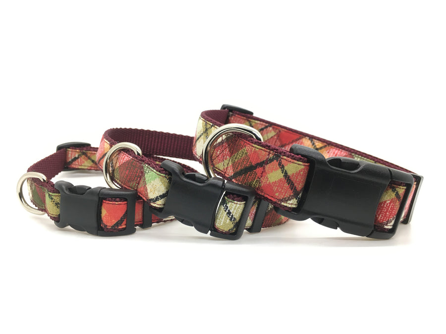 Classic dog collar - 2020 festive plaid winter design, stacked