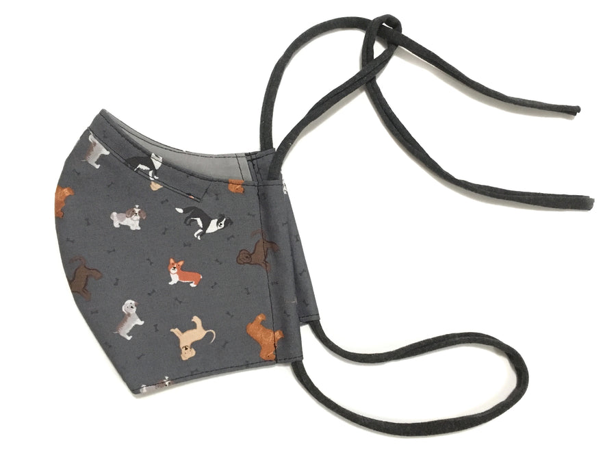 Fabric Face Mask - Dogs on Charcoal