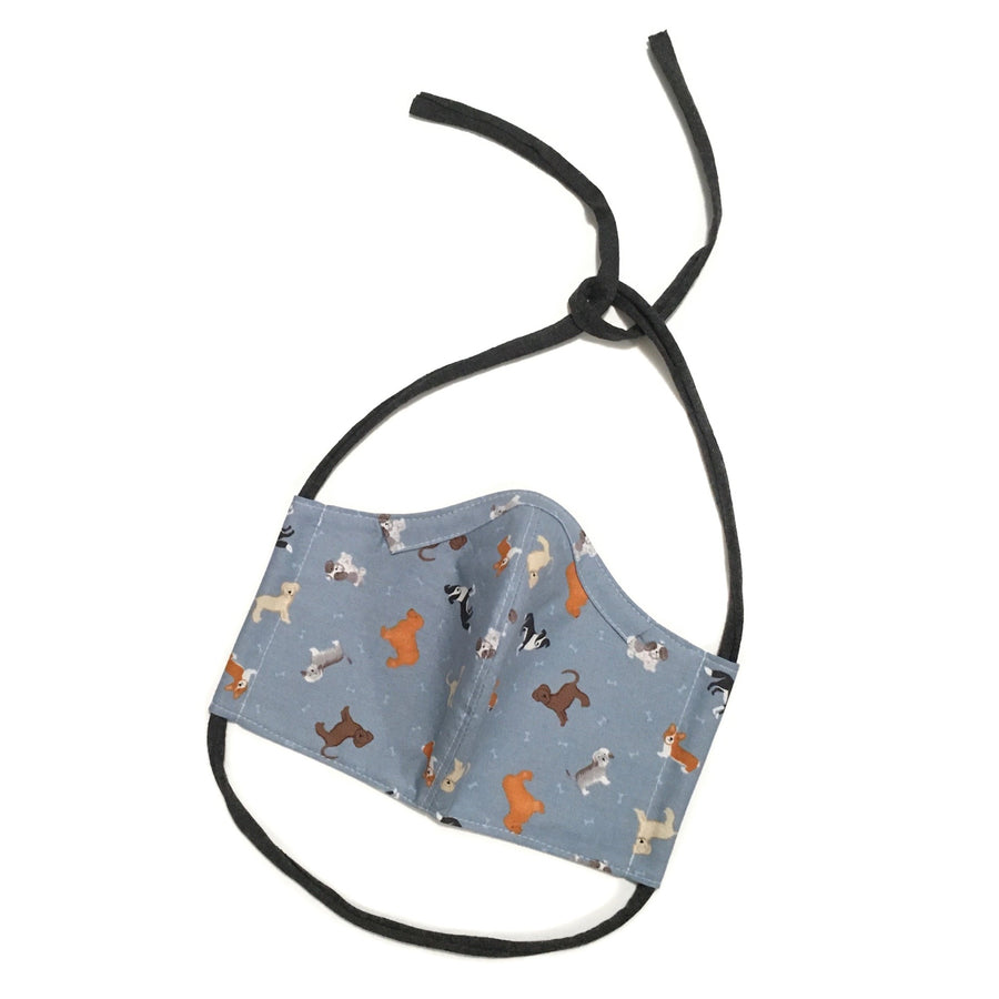 Persimmon Peak: denim dogs face mask, front