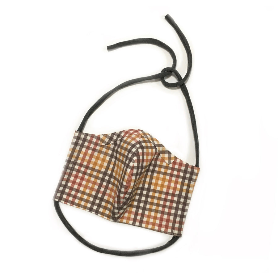Persimmon Peak: harvest plaid face mask, front