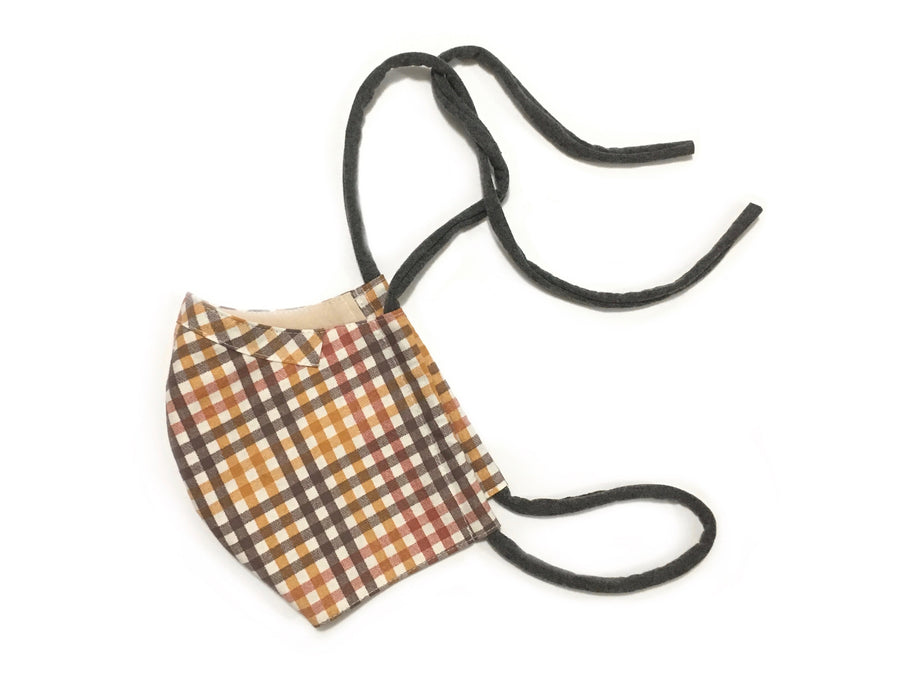 Persimmon Peak: harvest plaid face mask, side