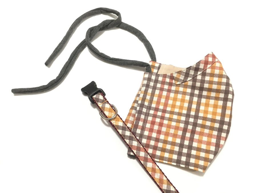 Persimmon Peak: harvest plaid face mask with matching dog collar