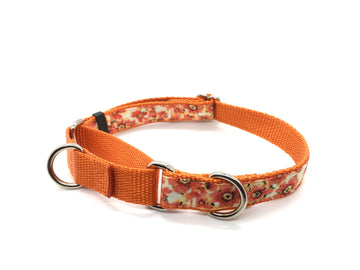 Persimmon Peak: fall flowers martingale collar, single