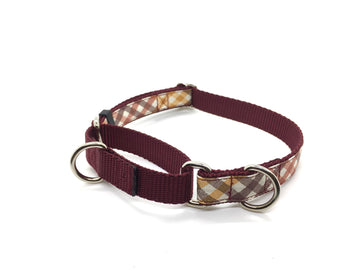 Persnickety Pets: harvest plaid martingale collar, single