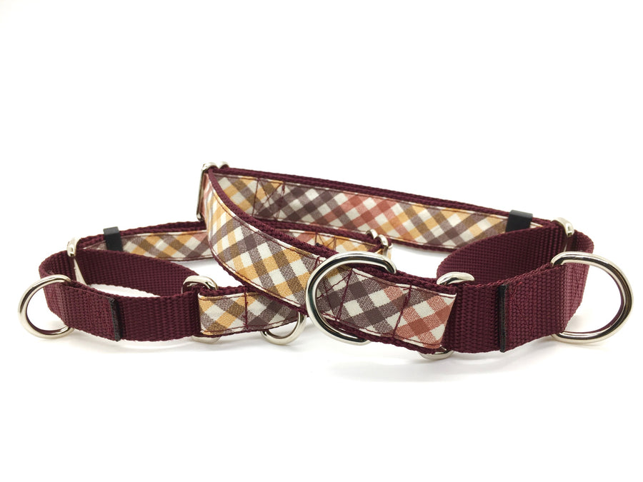 Persimmon Peak: harvest plaid martingale collar, Persimmon Peak: harvest plaid martingale collar, stacked