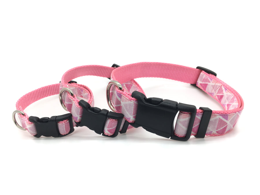 Persnickety Pets - pink prisms classic dog collar, 3 sizes, stacked