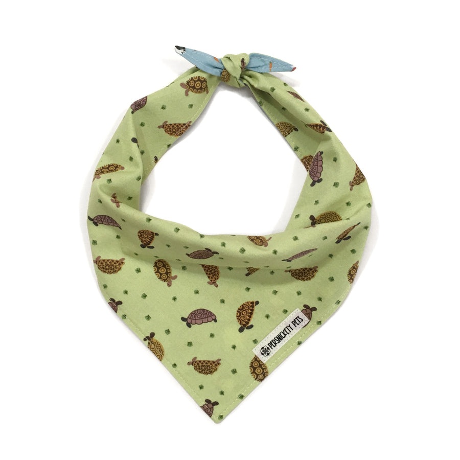 Persnickety Pets: Small friends reversible bandana, turtles tied front