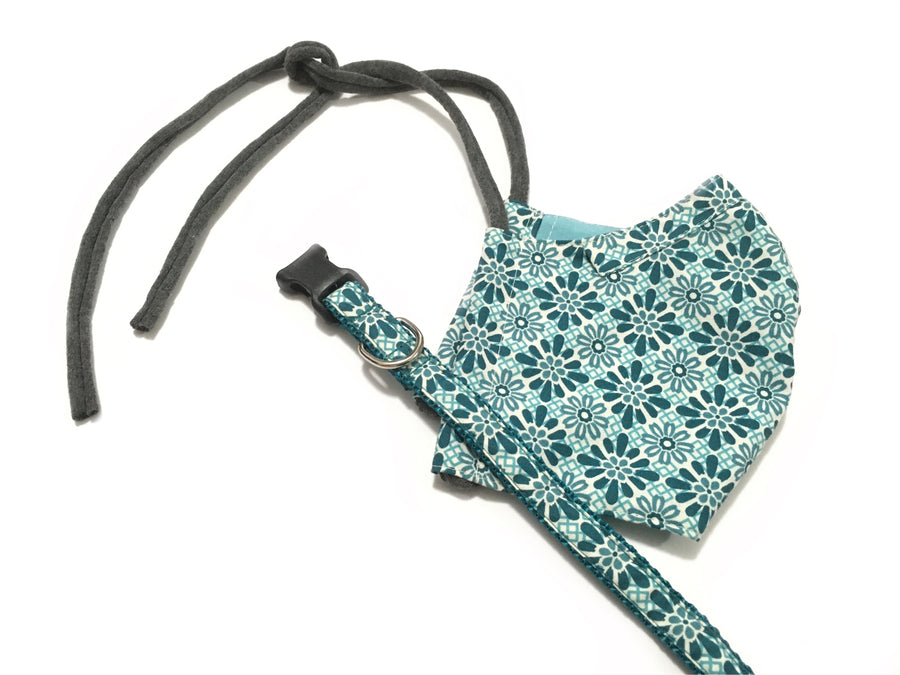 Persimmon Peak: teal tiles face mask with matching dog collar