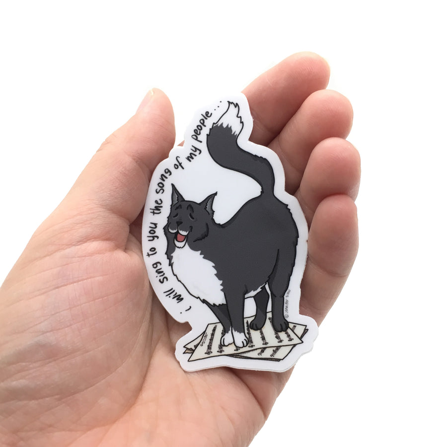 Persimmon Peak: The Persnickety Pets - Giovanni sticker in hand