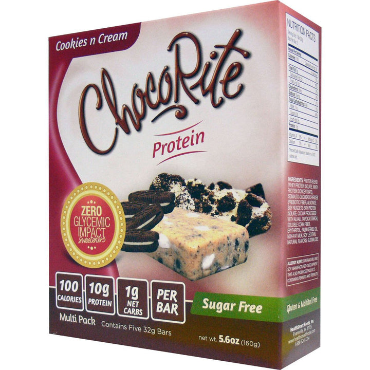 ChocoRite Cookies n Cream Protein Bars Box of 5