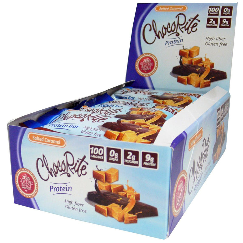 ChocoRite Salted Caramel Protein Bars 100 Calorie 9g Protein