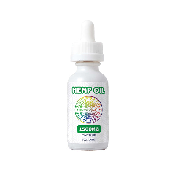 Hemp Oil Tincture (1500mg) used for overall mind and body wellness; include a calibrated oral dropper