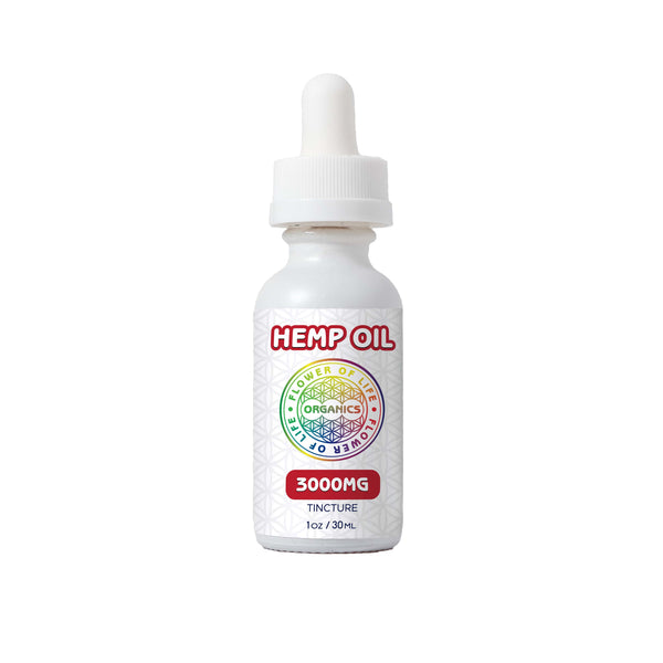 Hemp Oil Tincture (3000mg) used for overall mind and body wellness; include a calibrated oral dropper