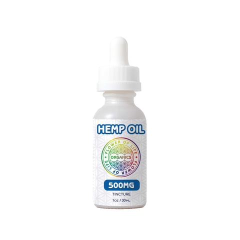 Hemp Oil Tincture (500mg) used for overall mind and body wellness; include a calibrated oral dropper