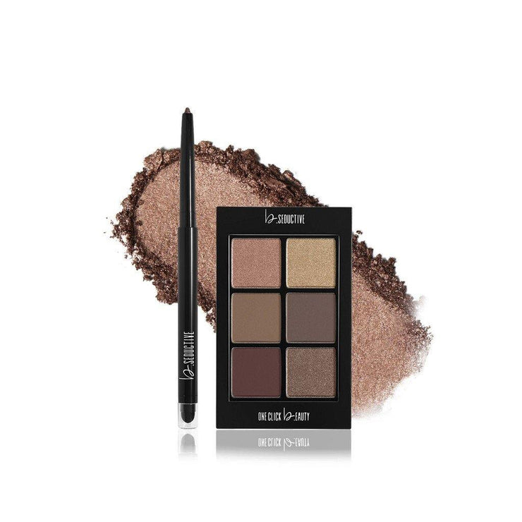 b. Seductive Warm Nudes Lip & Eye Set - ONE CLICK b.EAUTY