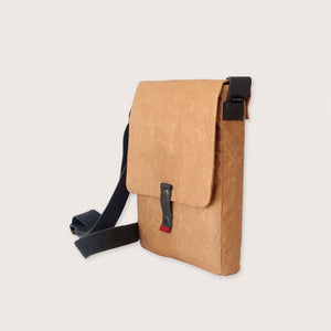 Wren Natural Paper and Cotton Sling Bag with Red Tip End