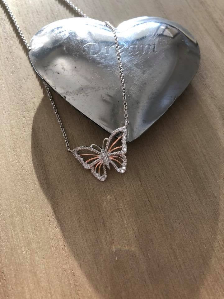 Misu 925 Sterling Silver and Rose Gold Butterfly Necklace