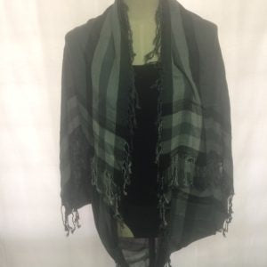 Scarf Creations Shrug in Grey/Black Check Border