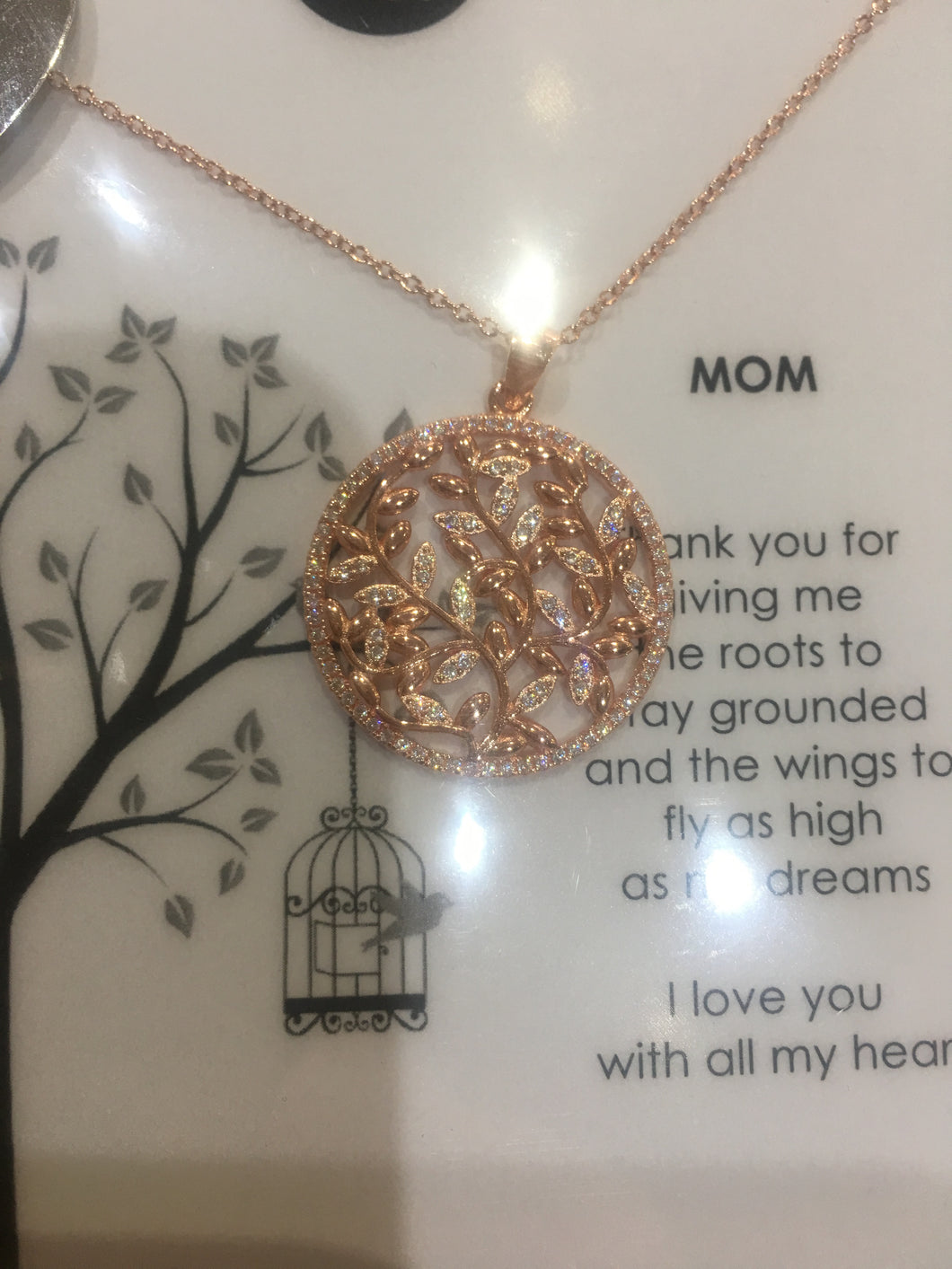 Misu 925 Sterling Silver Rose Gold Endless Love Necklace No 148