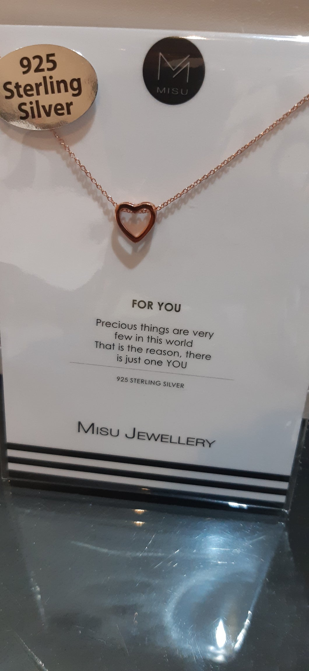 Misu 925 Sterling Silver Open heart Gold 112