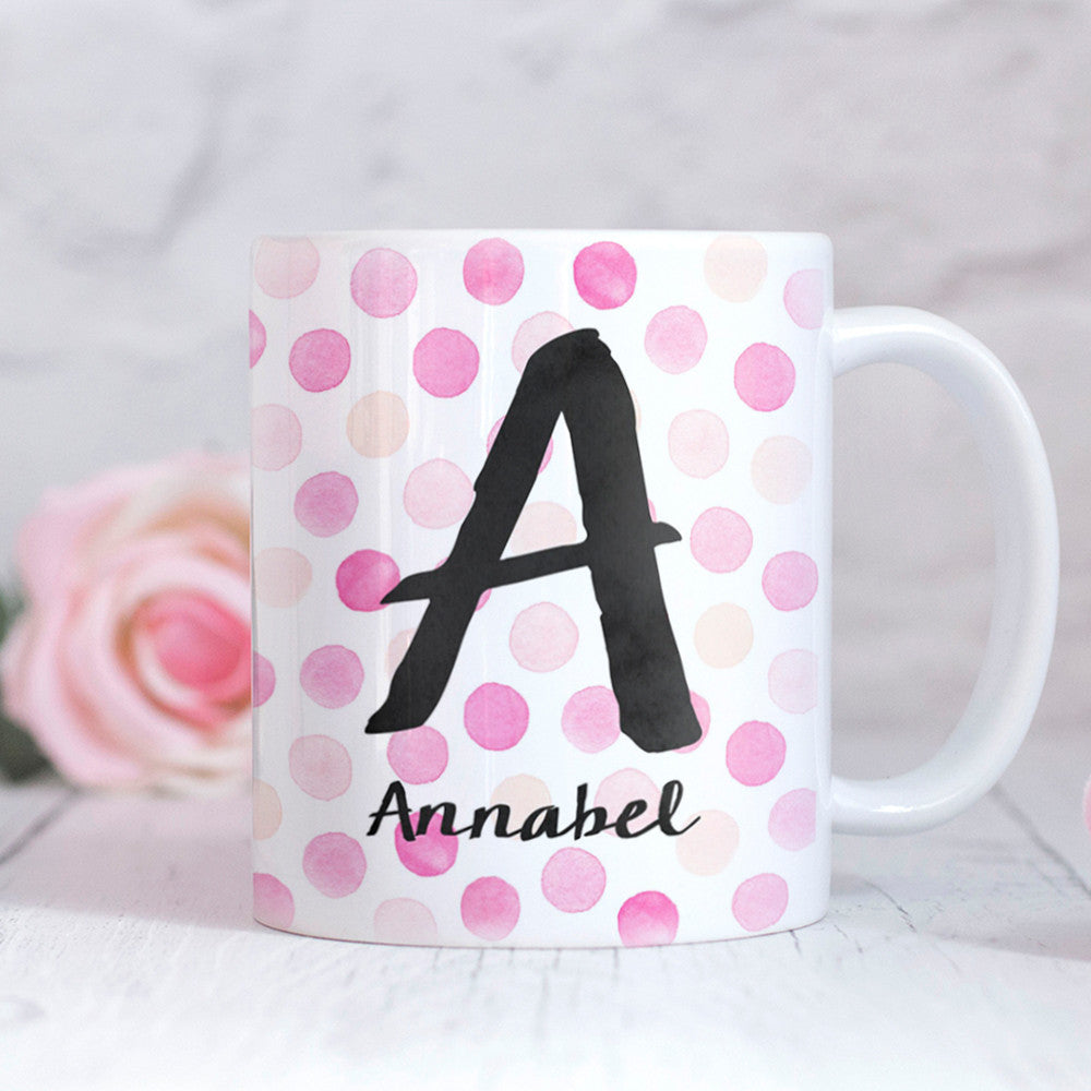 Dots Pink Personalised Mug