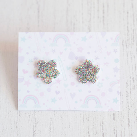 Flower Glitter Earrings