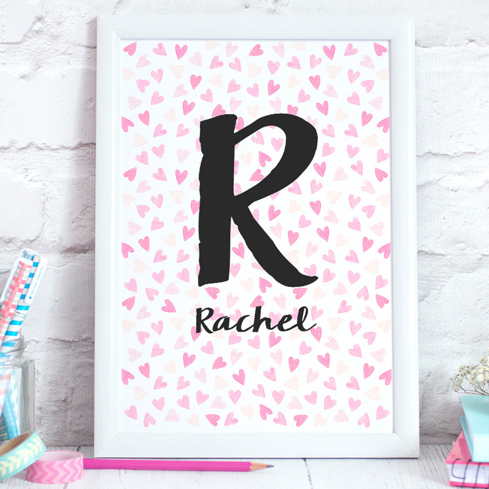 Hearts Pink Personalised Print