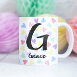 Hearts Rainbow Personalised Mug